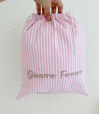 Cucyscuci Sacca Cambio grande bicolore per bambina con ricamo personalizzabile